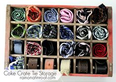 Coke Crate Tie/Belt Storage