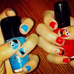 / Cookie Monster / Elmo nails on We Heart It Birthday Party At Home, Elmo, Cookie Monster, Nails, Nail Ideas, Fingers, Princess, Style, Finger Nails