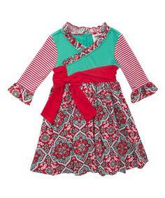 Look at this #zulilyfind! Red & Mint Toile Dress - Girls #zulilyfinds