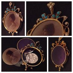 A STUNNING TURQUOISE & PEARL SET VICTORIAN OVAL PICTURE LOCKET IN 15CT GOLD