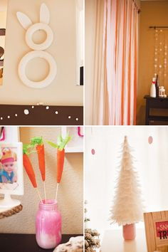 Crepe Paper Bunny and Decorations  {via Hostess with the Mostess}