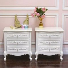 Elegant 2 Drawer Pair Nightstands in White $595.00 #thebellacottage #shabbychic #OOAK