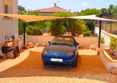 Carport Shade Spain, park your car in the shade with a Shade Sail in Spain from Coolashade. Patio Shade, Pergola Shade, Wooden Pergola, Diy Pergola, Pergola Ideas, Carport Shade, Sun Sail Shade, Shade Sails, Carport Designs