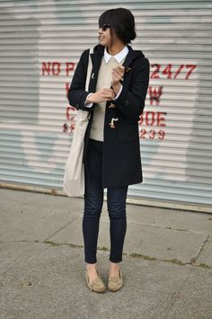 vintage duffle coat, A.P.C. collared shirt, vintage wool sweater, Gap jeggings, A.P.C. loafers, Acne tote