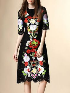 Black Half Sleeve Floral Crew Neck A-line Midi Dress Lace Midi Dress dfc5b6d1e5