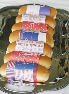 this is extra special and too out of control! who would take the effort to wrap their hot dog buns in scrap paper? I would be annoyed trying to get the dang thing off! 4th Of July Celebration, 4th Of July Party, Fourth Of July, Favorite Holiday, Holiday Fun, Holiday Ideas, Independance Day, Hot Dog Buns, Hot Dogs