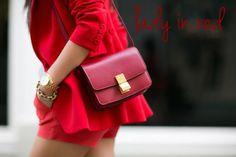 Red shorts suits & red classic Celine bag