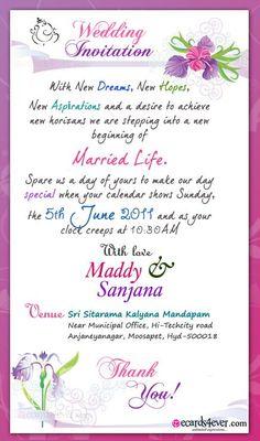 Indian Wedding Invitation Wording Template Weddings Decorations