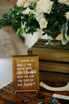 Brunch-inspired wedding sign: http://www.stylemepretty.com/florida-weddings/ft-george-island/2015/09/14/romantic-brunch-inspired-outdoor-wedding/ | Photography: Kallima - http://kallimaphotography.com/