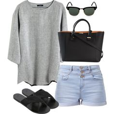 Untitled #2662 by meandelstyle on Polyvore featuring Madewell, Ancient Greek Sandals, Victoria Beckham and Ray-Ban