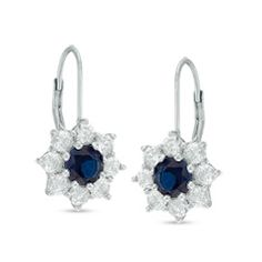 6.0mm Lab-Created Blue and White Sapphire Sunburst Frame Drop Earrings in Sterling Silver