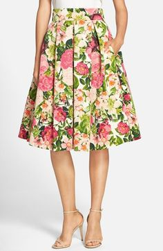 Eliza+J+Floral+Print+Faille+Midi+Skirt+available+at+#Nordstrom