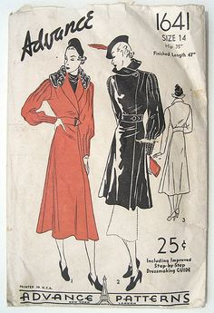 30s Belted Coat Advance Sewing Pattern 1641 by sewvintagefashion