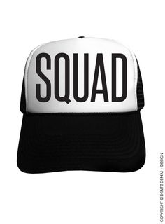 e987251d9c3 Squad Black Snapback Trucker Hat by DentzDesign on Etsy Black Snapback