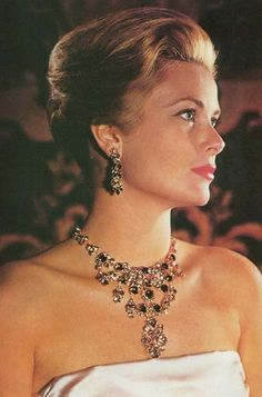 HSH Princess Grace of Monaco ~ Hair Upswept, Bejeweled in Emerald and Diamond Earrings and Necklace.