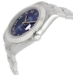 Rolex Datejust II Blue Roman Dial Fluted 18k White Gold Bezel Oyster Bracelet Mens Watch.