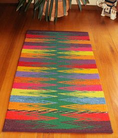 The rugs pictured here are woven on large floor looms using shaft switching and producing very durable thick rugs. The warp is linen and the weft is New Zealand carpet wool. The shaft switching dev… Navajo Weaving, Tapestry Weaving, Loom Weaving, Hand Weaving, Weaving Patterns, Textile Patterns, Stitch Patterns, Knitting Patterns, Rainbow Crochet