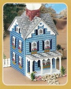 Plastic Canvas Blue cottage with pattern..