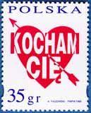 """Poland """"I love you"""" stamp  znaczki.poczta-polska.p"""