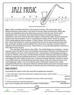 Listen to the Music! 4th Grade Comprehension Worksheets | Education.com