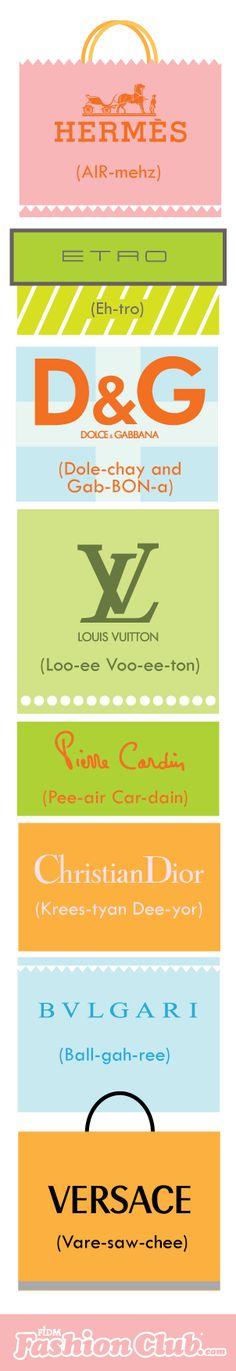 Designer Pronunciation Guide #1 #hermes #louisvuitton #dolce&gabbana #christiandior #versace