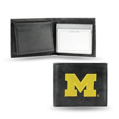 Michigan Wolverines Embroidered Leather Billfold