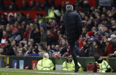 The United manager kicked a water bottle down the touchline at Old Trafford, which grabbed the referee's attention