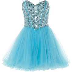 ANOUSHKA G Mia crystal embellished party dress ($220) found on Polyvore featuring dresses, blue, robe, short dresses, clearance, short cocktail prom dresses, sweetheart neckline prom dress, mini prom dresses, short blue dresses and blue mini dress