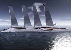 Tarun Sharma presents a stunning concept yacht, which combines functionality and privacy in an equal degree. It features two skimmer daughter boats, planar hull motor yachts, that can sail independently. Albatross yacht possesses solar sails and turbine propulsion.