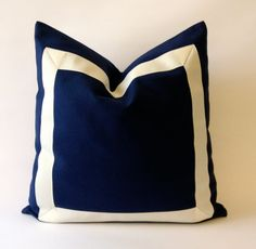 20x20 to 26x26 Navy Blue Cotton Pillow Cover with Off White Grosgrain Ribbon- Decorative Throw Pillow Cover - Cushion Cover
