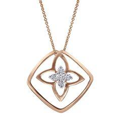 14k Pink Gold Diamond Fashion Necklace
