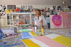 Artist Kerri Rosenthal in studio