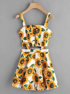ROMWE Sunflower Print Random Single Breasted Cut Out Dress Multicolor Spaghetti Strap Floral Dress Sexy Sleeveless A Line Dress Cute Girl Outfits, Cute Summer Outfits, Cute Casual Outfits, Pretty Outfits, Pretty Dresses, Stylish Outfits, Casual Dresses, Slip Dresses, Girls Fashion Clothes