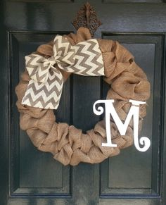 Burlap Wreath with Gray Chevron Burlap Bow Front by SalemStudios. Looks super easy to mimic