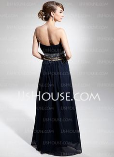 A-Line/Princess Sweetheart Floor-Length Chiffon Evening Dress With Ruffle Beading (017014676) - JJsHouse