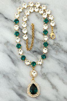 Emerald Choker Necklace,Bridal Crystal Choker, Swarovski Emerald Collar Necklace, Bridal Crystal Necklace, Statement Crystal Necklace Petite Delights is