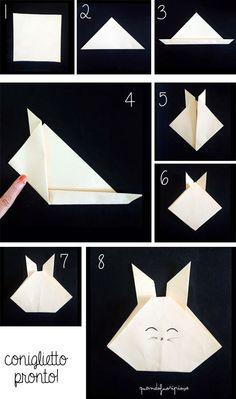 Quandofuoripiove: origami per bambini: i coniglietti per il festone di Pasqua Easy origami for kids: the bunny