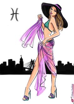 Pisces Fashion sketches illustrations- zodiac sign