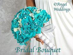 BEAUTIFUL OCEANA BLUE (teal/turquoise) All Roses Bridal Bouquet. $369.00, via Etsy.