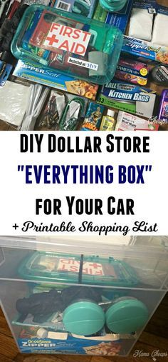 """DIY Dollar Store """"EVERYTHING BOX"""" for Your Car + Printable Shopping List Take a few minutes and assemble your own DIY Dollar Store """"Everything Box"""" for the car. You'll be prepared for almost anything while you travel! Kids Bedroom Organization, Camping Organization, Organization Ideas, School Organization, Emergency Preparedness Kit, Survival Prepping, Survival Gear, Emergency Preparation, Survival Skills"""
