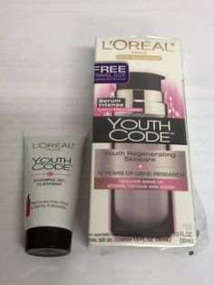 Loreal Paris Youth Code Regenerating Skincare Serum Intense Daily Treatment 1 Oz Free Trvl Size Foaming Gel Cleanser * Click image to review more details.