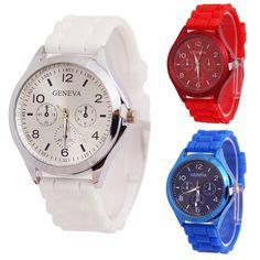 New Unisex Colorful Round Dial Silicone Band Analog Quartz Sport Wrist Watch