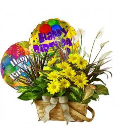 Send your warmest regards with an elegant dish garden that combines the fragrance of a fresh bouquet and Mylar balloons says Happy Birth day. 	Note :			For hospital deliveries Latex will be substituted by Mylar balloons.		Balloons arrangements are prepared by our specialized balloon artists, so designs may be vary by area and availability.