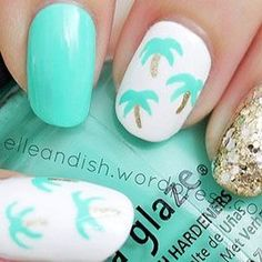 Palm trees-feel like you are in paradise with these nails. You can use AVON nail products from www.youravon.com/jfreemyers to create this look