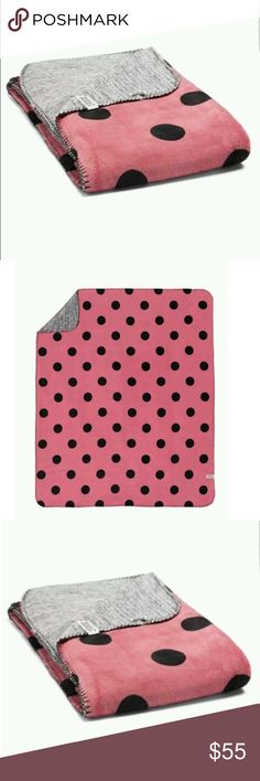 Pink VS reversible blanket Brand new with tag pink VS reversible blanket. VS Pink Plush Polka Dot Begonia light pink & black blanket PINK Victoria's Secret Accessories