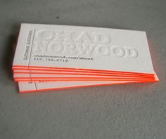 Letterpress business cards /  The Beauty of Letterpress: Chad Norwood