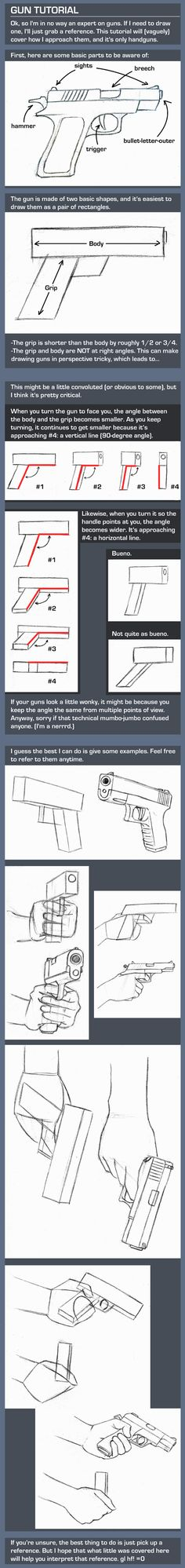 """Gun """"Tutorial"""" by TheAmoebic (god I hate drawing guns! Hand Drawing Reference, Anatomy Reference, Art Reference Poses, Tutorial Draw, Comic Tutorial, Dark Art Drawings, Easy Drawings, Drawing Techniques, Drawing Tips"""