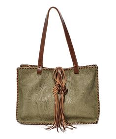 Loving this Carla Mancini Olive Tooled Whipstitch Leather Tote on #zulily! #zulilyfinds