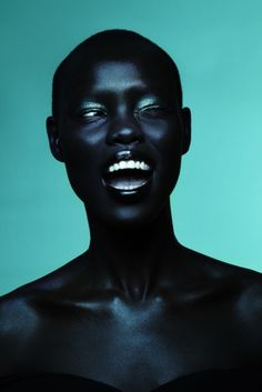 slick black  blue shiny skin: model Grace Bol