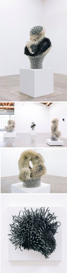 Densely Textured Sculptures Produced From Thousands of Porcelain Spines by Artist Zemer Peled